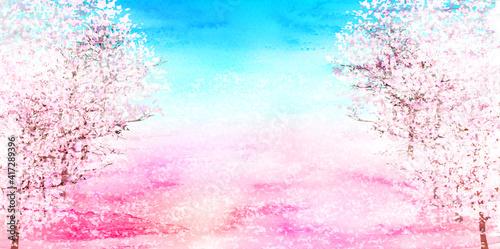桜 水彩 春 風景