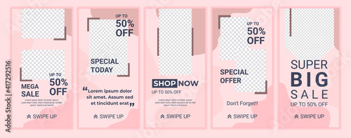 Fotografía 5 Set of cute feminine sale banners for social media stories with soft pastel pink color
