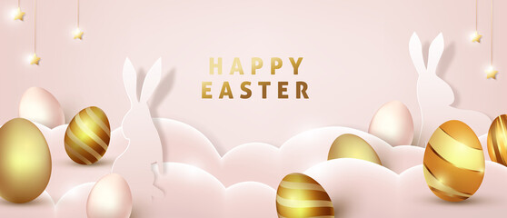 Easter background template with luxury premiume golden eggs.
