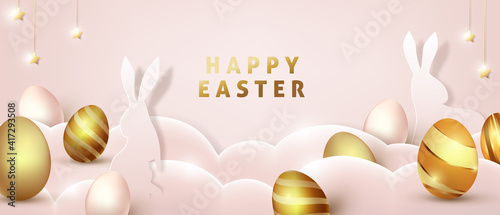 Obraz Easter background template with luxury premiume golden eggs. - fototapety do salonu
