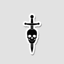 Skull And Sword Sticker Icon Isolated On White Background