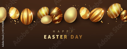 Obraz Easter background template with luxury premium golden eggs. - fototapety do salonu