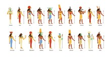 Set Of Egyptian Gods And Goddesses. Deities Of Ancient Egypt. Myth Cairo Figures And Statues. Colored Flat Vector Illustration Of Osiris, Horus, Ra, Sobek And Thoth Isolated On White Background