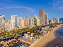 Beautiful My Khe Beach From Drone In Da Nang, Vietnam, Street And Buildings Near The Central Beach And The Sea. Photo From A Drone