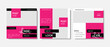 Set of editable social media templates pack with magenta and black color contrast background elements. Instagram posts for business with place for photos. Product presentation, shop offer