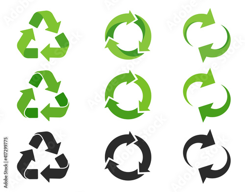 Obraz Recycling icon. An arrow that revolves endlessly Reuse concept Recycled. isolate on white background - fototapety do salonu