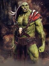 Fantasy Green Ogre Warrior Dressed In Armour Standing In Front Of Castle Ruins. 3D Render.