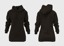 Blank Hooded Sweatshirt Mockup For Print, 3d Rendering, 3d Illustration