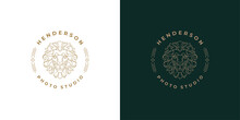 Royal Lion Head Logo Template Linear Vector Illustration