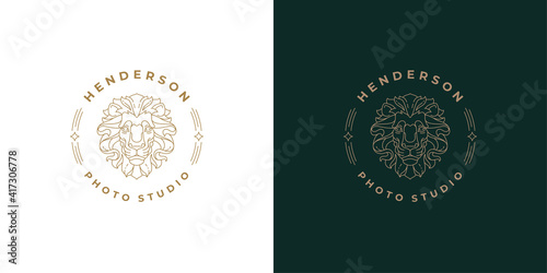 Royal lion head logo template linear vector illustration