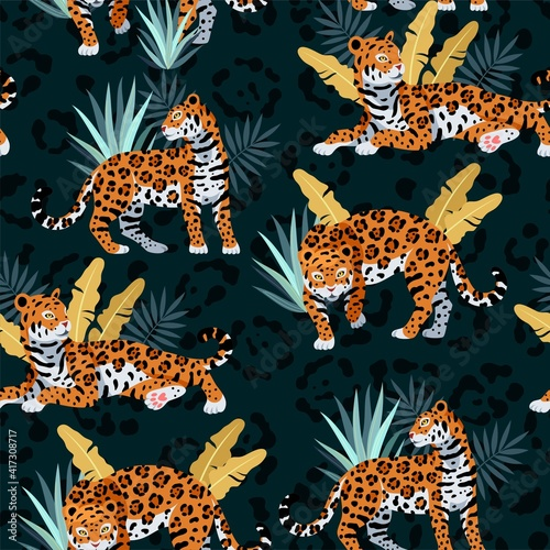 Fotografie, Obraz Seamless vector pattern with cute jaguar and palms
