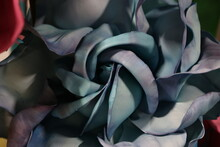 Macro Photo Of Big Paper Black Flower. Artificial Paper Flower. Floral Design, Floral Ornament, Decor. Decoration With Flowers. Large Flower. Paper Decor Of Show Window, Store Display. Paper Bloom