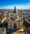 Budapest, Hungary - Aerial view of St.Stephen's Basilica on a sunny summer day with clear blue sky