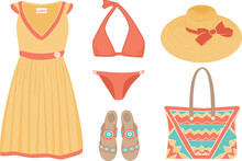 Vector Set Of Beachwear, Including Dress, Bikini Swimsuit, Sandals, Hat, Bag In Bright Colors