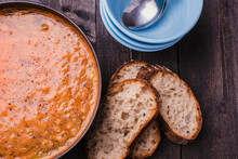 Stew And Slices Of Sourdough Bread