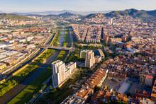 Aerial Urban Landscape Of Santa Coloma De Gramenet Municipality And Besos River, Catalonia, Spain