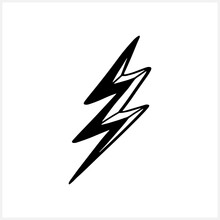 Doodle Lightning Icon. Thunder Charging Power For Electricity Energy And Batteries. Hand Drawing Thunderstorm. Vector Stock Illustration. EPS 10