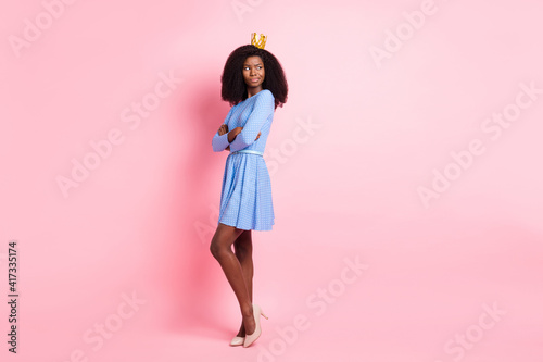 Fotografia, Obraz Photo of envy princess crossed hands look empty space wear crown short dress hig