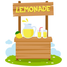 Lemonade Stand And Fresh Lemon Juice In Pitcher And Glasses. Vector Illustration