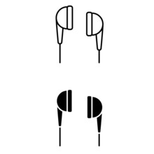 Headphones Icons Vector Set. Music Sign Collection. Sound Symbols.