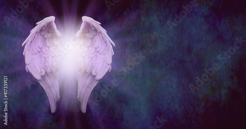 Slika na platnu Rustic Angel Message Background - purple tinged angel wings with glowing light c