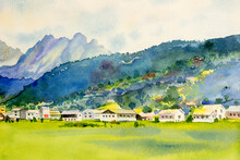 Watercolor Painting Landscape Of Gosau Is A Village In The Austrian.