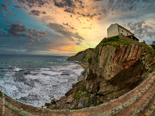 Layers of flysch, flysch cliffs, Basque Coast UNESCO Global Geopark, European Geopark Network, Zumaia, Guipúzcoa, Basque Country, Spain, Europe