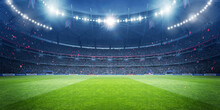 Football Stadium At Night. An Imaginary Stadium Is Modelled And Rendered.
