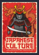 Japanese Culture And History Grungy Poster. Samurai Warrior In Heavy Armor, Horned Helmet And Scary Face Mask, Armed Katana Sword, Scaly Dragon Vector. Japan War And Military History Retro Banner
