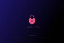 Simple Minimalist Heart Love Lock Unlock Logo Design Vector