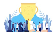 Chess Competition. Board Game, Partnership Cooperation Flat Concept. Corporate Strategy Teamwork, Business Doubt Or Competition Utter Vector Scene. Illustration Strategy Challenge Chess
