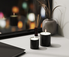 Black Scented Candle With Aroma Reed Diffuser And Vase With Blured Night City Lights On Background, Home Aromatic Candles, Aromatherapy, 3d Rendering