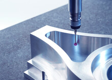 Engineering Metrology, A Probe From A Coordinate Measurement Machine Taking Measurements From A Engineering Part As Part Of Its Quality Control Process In Manufacturing