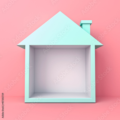 Blue pastel color exhibition booth blank display house box stand isolated on pink pastel color background minimal conceptual 3D rendering © masterzphotofo
