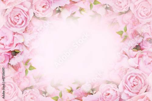 Delicate blossoming pink rose frame, blooming flowers pastel festive background, soft bouquet floral card, toned © ulada