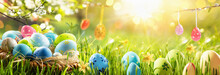 Spring Natural Background With Easter Eggs And Fresh Green Grass