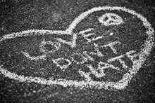 Love Don't Hate Chalk Graffiti In Heart