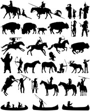 Native American Clip Art Vector Silhouette Collection