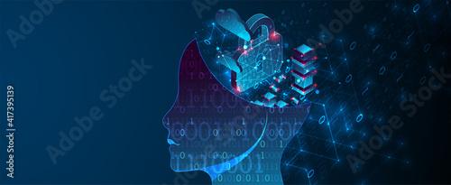 Obraz Artificial intelligence (AI) and big data concept. Machine cyber mind.  Technology vector background. - fototapety do salonu