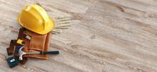 Builder's Equipment - Blueprints Of Architecture Interior, Protective Gloves And Industrial Helmet. Banner 3d Rendering
