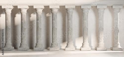 Fotografia Classic Pillar Column Colonade Classical  Architecture Banner Realistic 3D Rende
