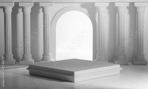 Fotografiet Square Podiums Bright Shining Door Classic Colums Pillars Colonade 3D Rendering