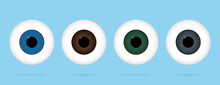 Colored Eye Iris Set On Blue Background. Realistic 3d Human Eyeball. Eye Balls Vector Illustration
