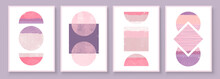 Mid Century Modern Design. A Trendy Set Of Abstract Pink Hand Painted Illustrations For Wall Decoration, Social Media Banner, Brochure Cover Design Or Postcard Background. Aesthetic Watercolor.