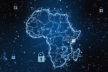 Cyber Security Concept With Digital Africa Map With Locks And Glowing Lines On Abstract Dark Background