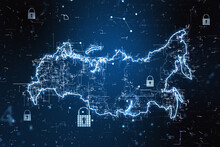 Network Security Concept With Digital Russia Map With Locks At Abstract Dark Background