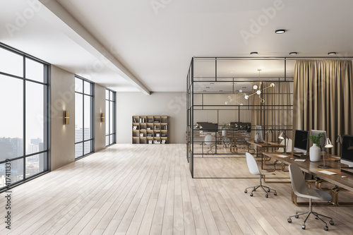 Obraz Spacious office with modern furniture, big window, wooden floor and separate cabinet with glass walls - fototapety do salonu