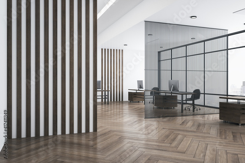 Canvas Empty striped wall in stylish office with wooden furniture, airy partition, parquet and big window