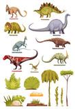 Fototapeta Dinusie - Dinosaurs And Flora Landscape Elements