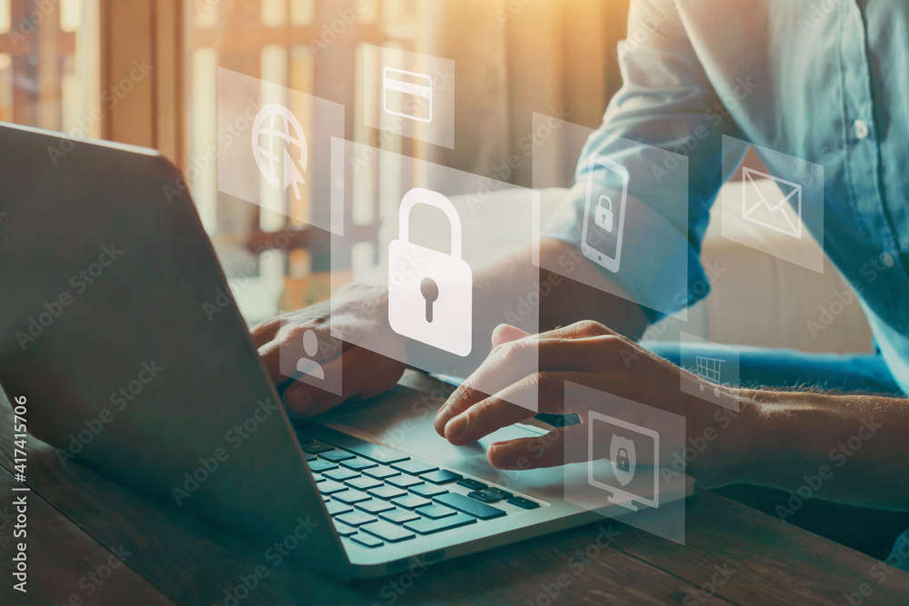 Fototapeta online data protection and information security concept, cybersecurity